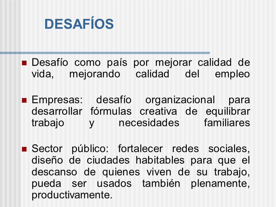 DESAFÍOS Desafío como país por mejorar calidad de vida, mejorando calidad del empleo.