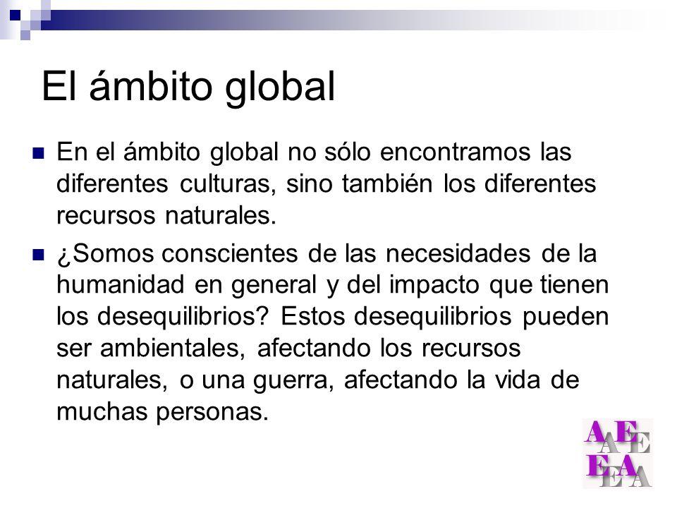 El ámbito global En el ámbito global no sólo encontramos las diferentes culturas, sino también los diferentes recursos naturales.