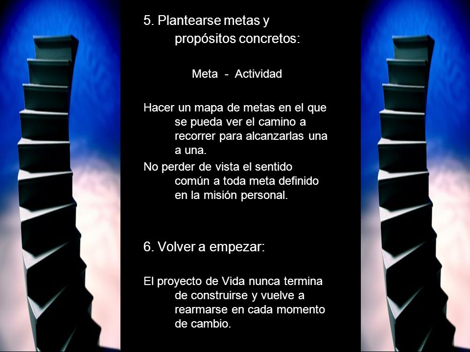 5. Plantearse metas y propósitos concretos: