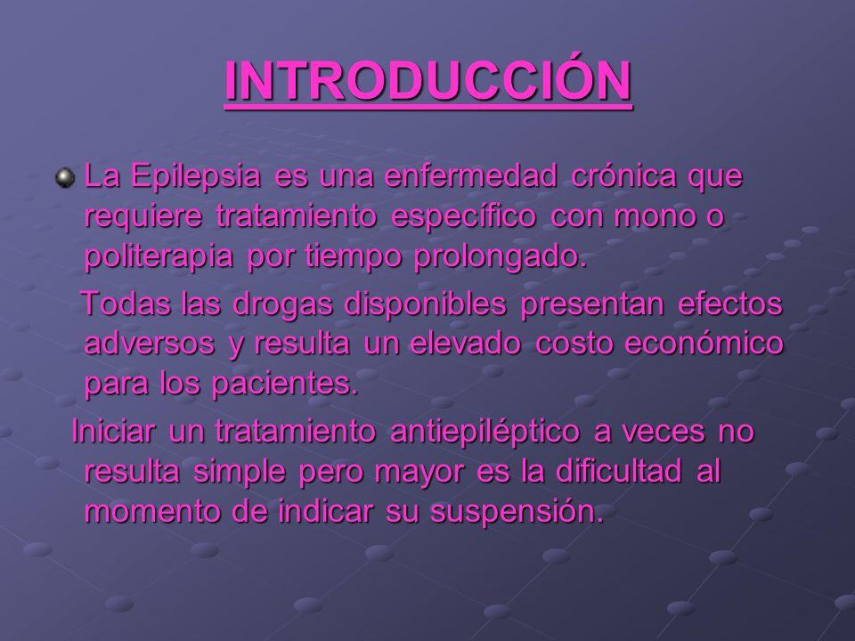 INTRODUCCIÓN La Epilepsia es una enfermedad crónica que requiere tratamiento específico con mono o politerapia por tiempo prolongado.