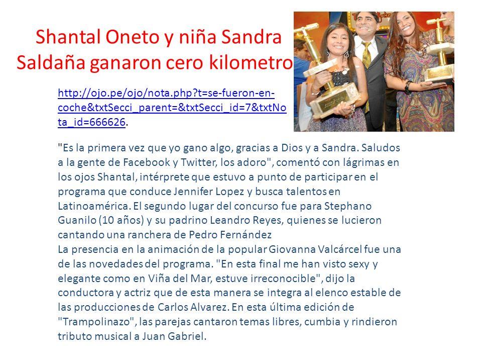 Shantal Oneto y niña Sandra Saldaña ganaron cero kilometros