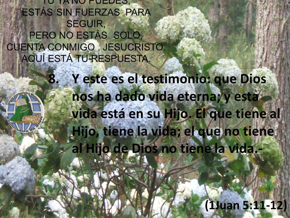 Y este es el testimonio: que Dios nos ha dado vida eterna; y esta vida está en su Hijo. El que tiene al Hijo, tiene la vida; el que no tiene al Hijo de Dios no tiene la vida.-