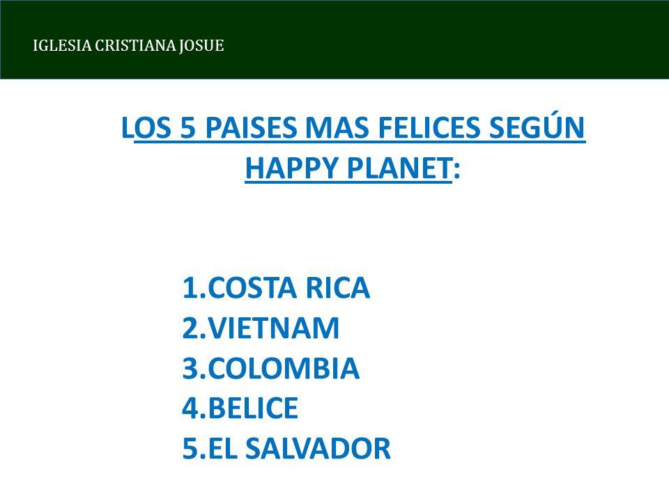 LOS 5 PAISES MAS FELICES SEGÚN HAPPY PLANET: