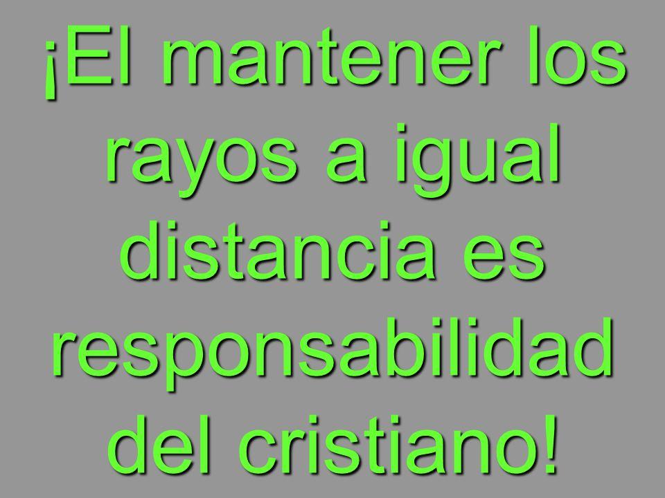 ¡El mantener los rayos a igual distancia es responsabilidad del cristiano!