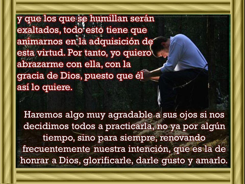 y que los que se humillan serán exaltados, todo esto tiene que animarnos en la adquisición de esta virtud. Por tanto, yo quiero abrazarme con ella, con la gracia de Dios, puesto que él así lo quiere.