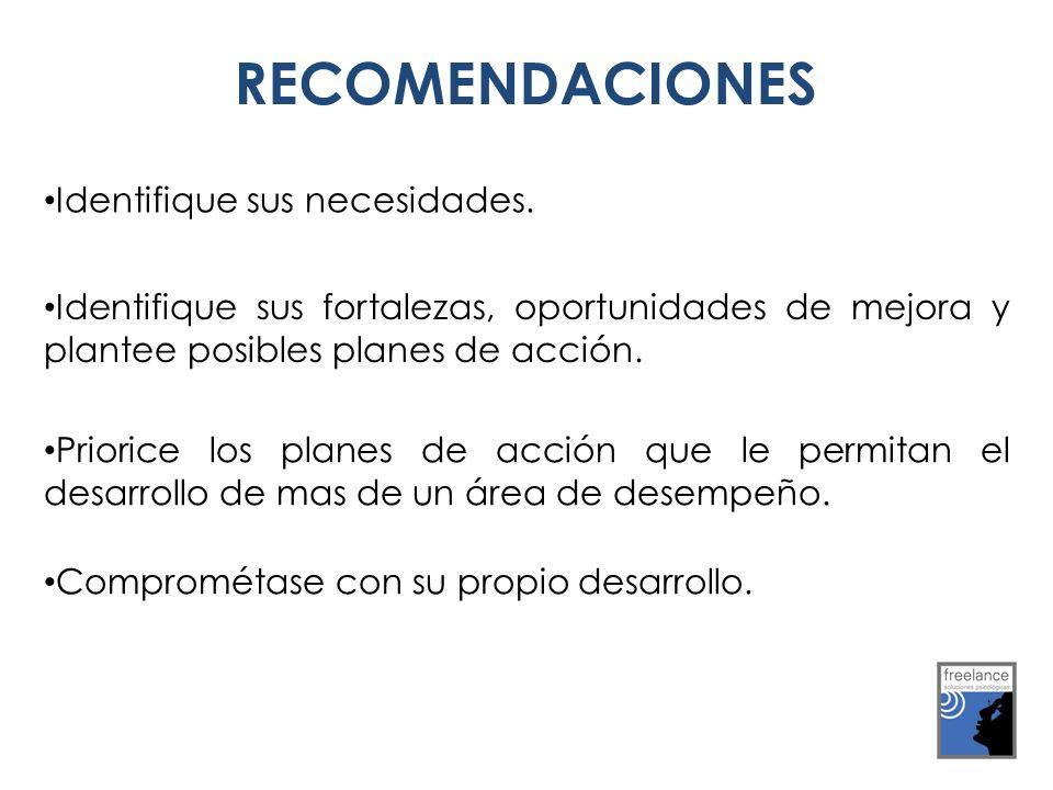 RECOMENDACIONES Identifique sus necesidades.