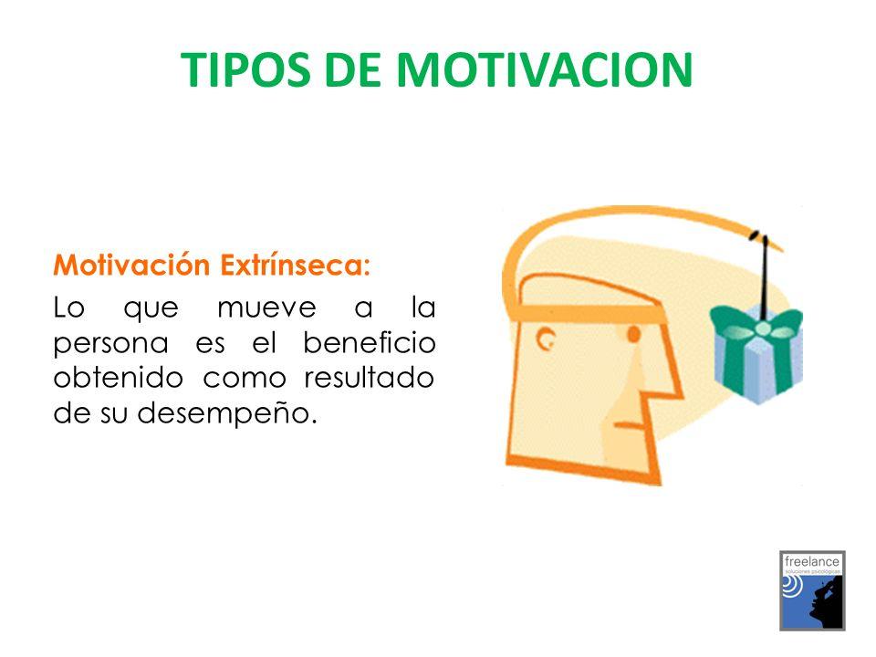 TIPOS DE MOTIVACION Motivación Extrínseca: Lo que mueve a la persona es el beneficio obtenido como resultado de su desempeño.