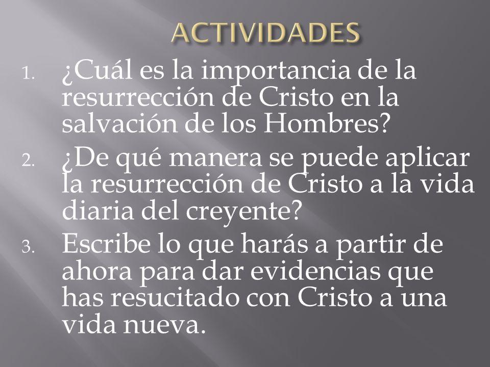 ACTIVIDADES ¿Cuál es la importancia de la resurrección de Cristo en la salvación de los Hombres
