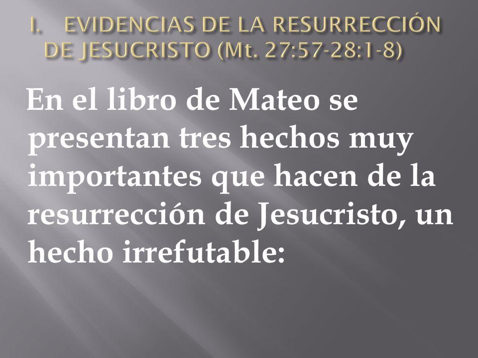 EVIDENCIAS DE LA RESURRECCIÓN DE JESUCRISTO (Mt. 27:57-28:1-8)
