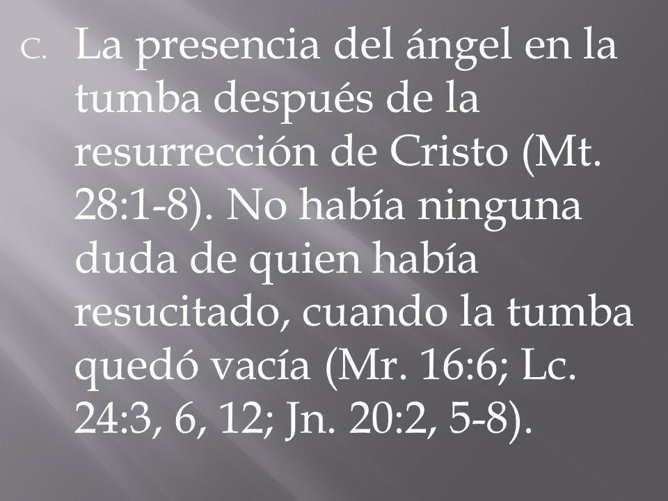 La presencia del ángel en la tumba después de la resurrección de Cristo (Mt.