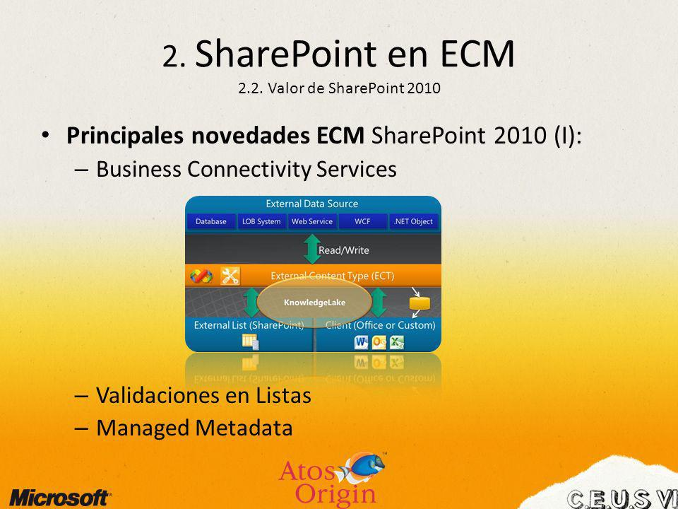 2. SharePoint en ECM 2.2. Valor de SharePoint 2010
