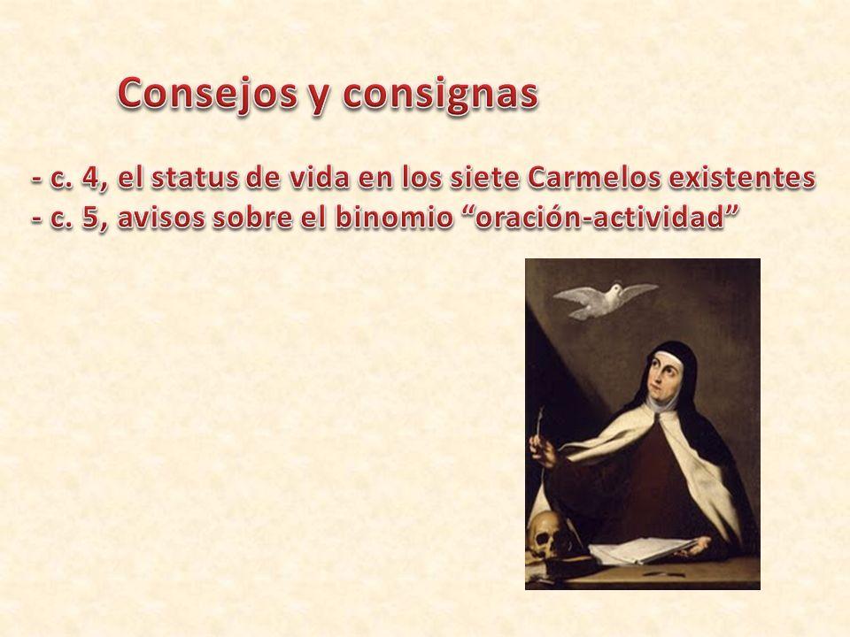 Consejos y consignas - c. 4, el status de vida en los siete Carmelos existentes.