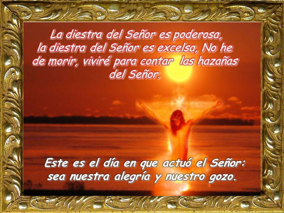 La diestra del Señor es poderosa, la diestra del Señor es excelsa, No he de morir, viviré para contar las hazañas del Señor.