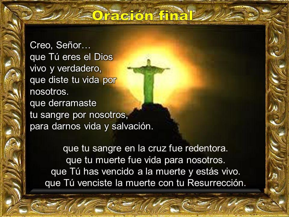 Oración final Creo, Señor… que Tú eres el Dios vivo y verdadero,
