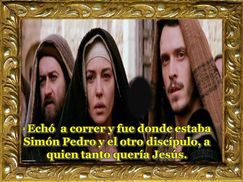 2 Echó a correr y fue donde estaba Simón Pedro y el otro discípulo, a quien tanto quería Jesús.