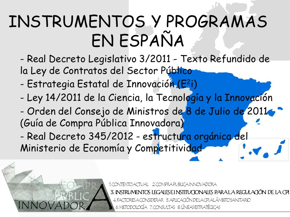 INSTRUMENTOS Y PROGRAMAS EN ESPAÑA