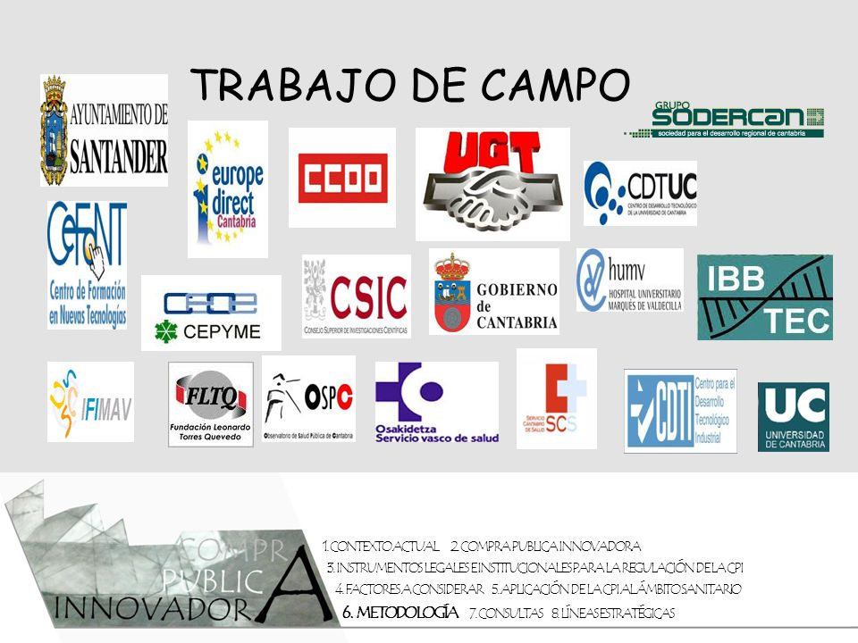 TRABAJO DE CAMPO 1. CONTEXTO ACTUAL 2. COMPRA PUBLICA INNOVADORA