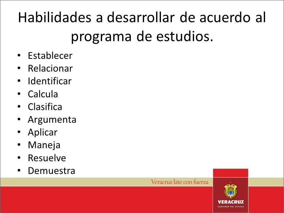 Habilidades a desarrollar de acuerdo al programa de estudios.