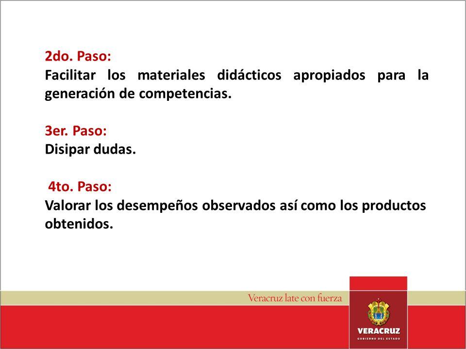 2do. Paso: Facilitar los materiales didácticos apropiados para la generación de competencias. 3er. Paso:
