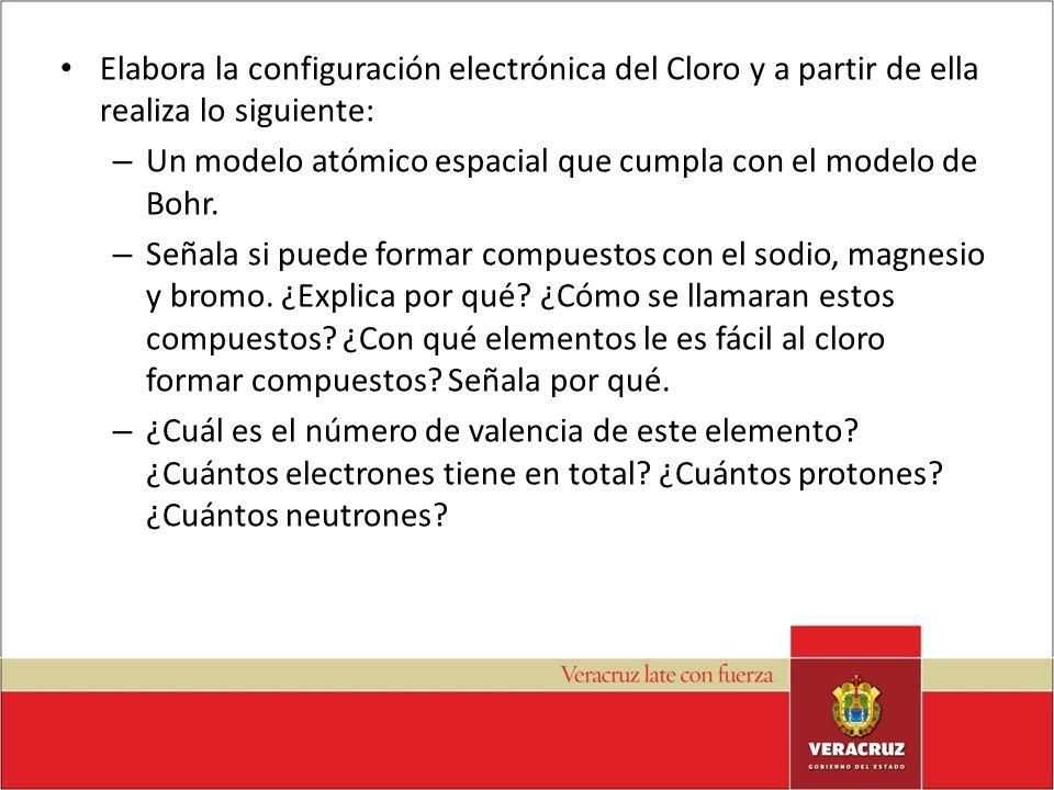 Elabora la configuración electrónica del Cloro y a partir de ella realiza lo siguiente: