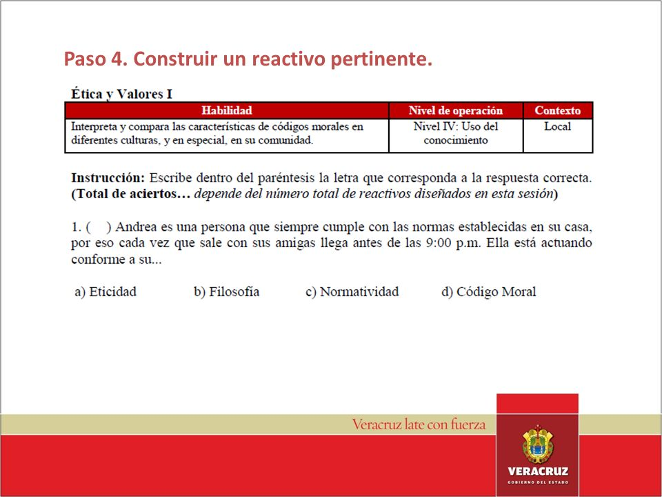 Paso 4. Construir un reactivo pertinente.