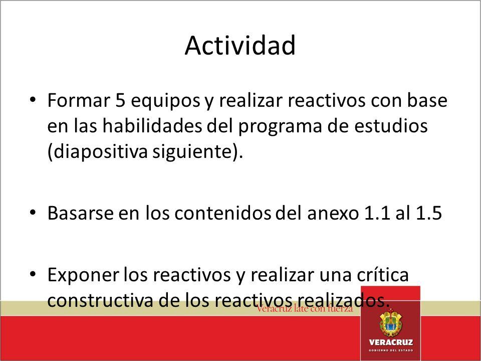 Actividad Formar 5 equipos y realizar reactivos con base en las habilidades del programa de estudios (diapositiva siguiente).