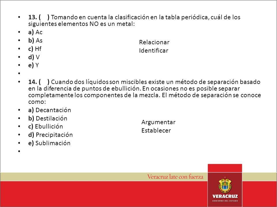 13. ( ) Tomando en cuenta la clasificación en la tabla periódica, cuál de los siguientes elementos NO es un metal: