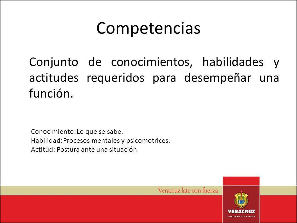 Competencias Conjunto de conocimientos, habilidades y actitudes requeridos para desempeñar una función.
