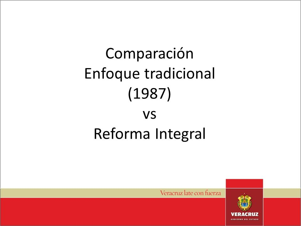 Comparación Enfoque tradicional (1987) vs Reforma Integral