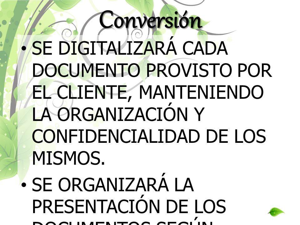 Conversión SE DIGITALIZARÁ CADA DOCUMENTO PROVISTO POR EL CLIENTE, MANTENIENDO LA ORGANIZACIÓN Y CONFIDENCIALIDAD DE LOS MISMOS.