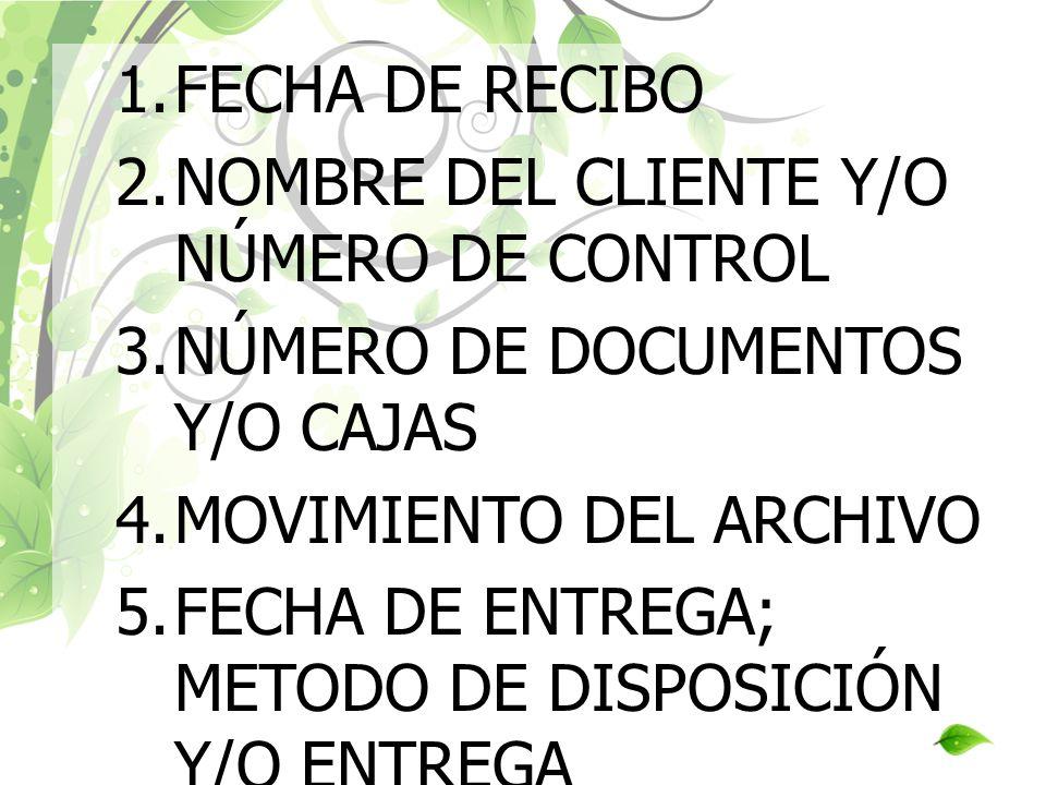 FECHA DE RECIBO NOMBRE DEL CLIENTE Y/O NÚMERO DE CONTROL. NÚMERO DE DOCUMENTOS Y/O CAJAS. MOVIMIENTO DEL ARCHIVO.