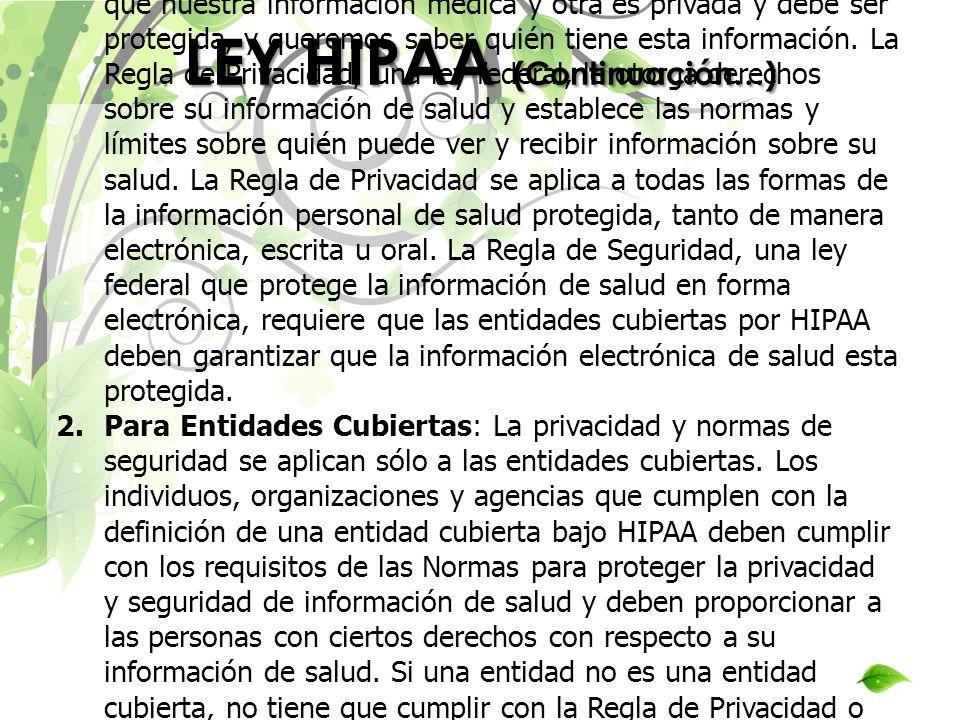 LEY HIPAA (Continuación…)