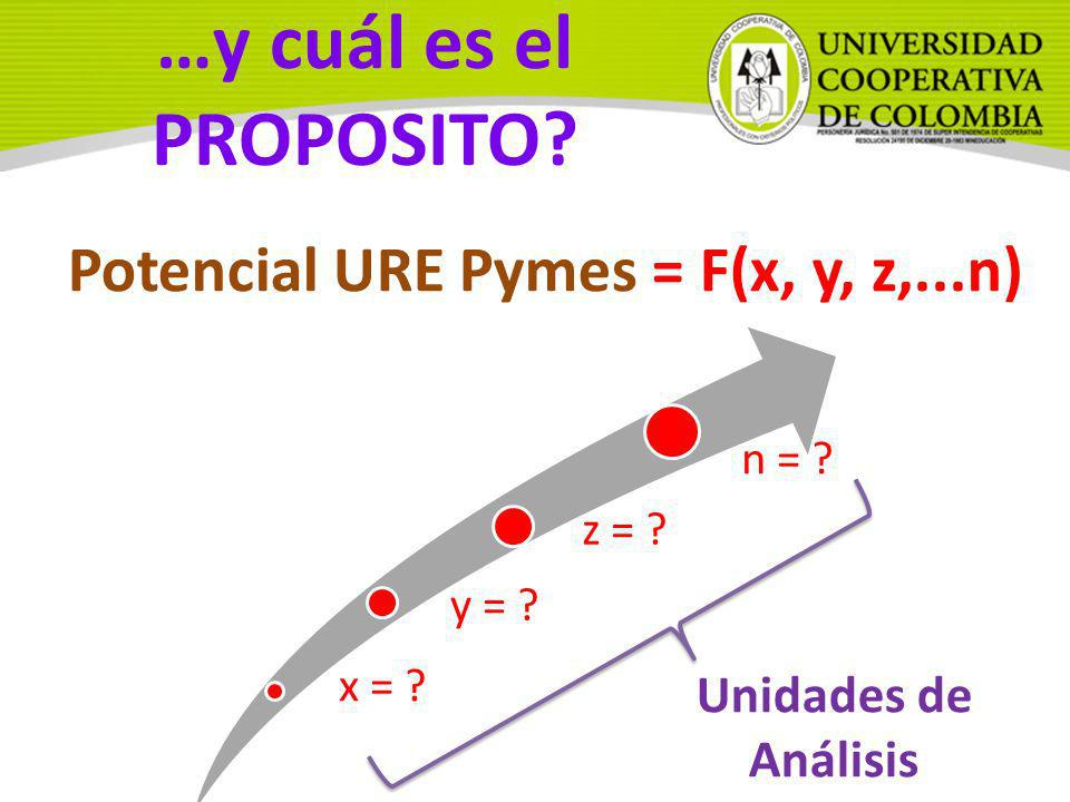 Potencial URE Pymes = F(x, y, z,...n)