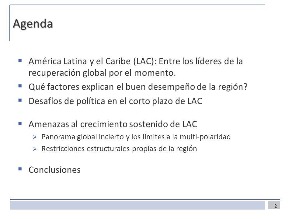 Agenda América Latina y el Caribe (LAC): Entre los líderes de la recuperación global por el momento.