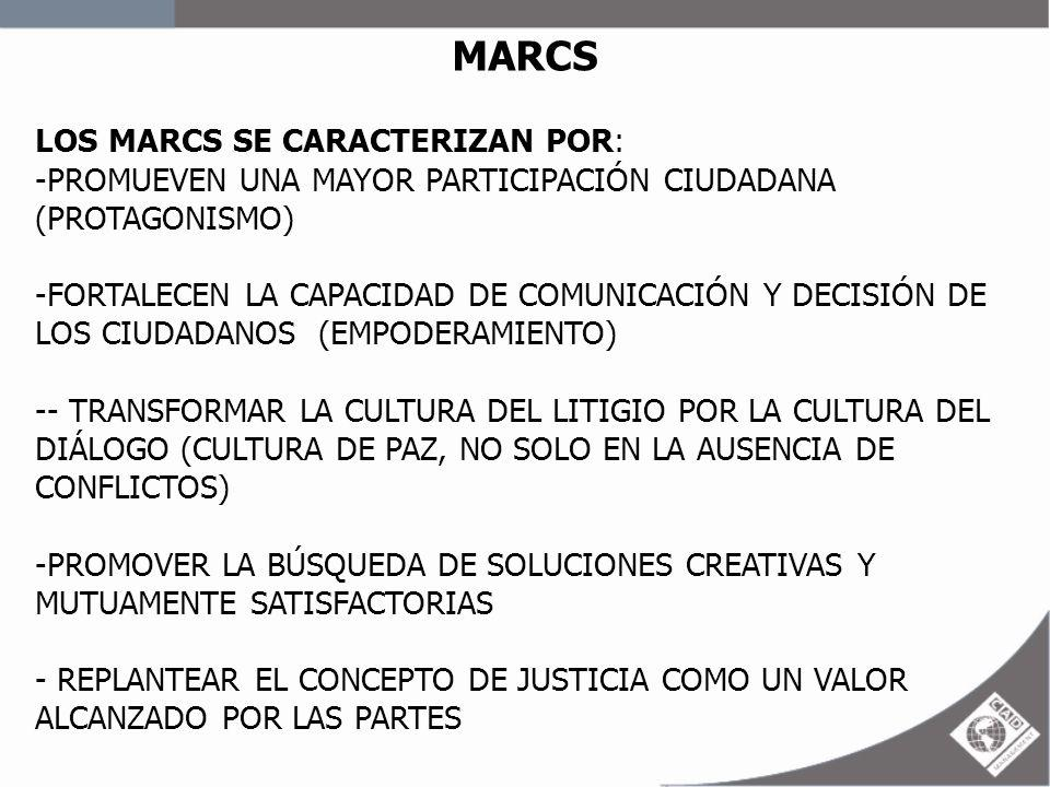 MARCS LOS MARCS SE CARACTERIZAN POR: