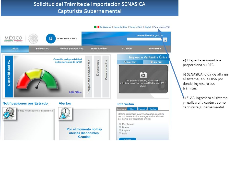 Solicitud del Trámite de Importación SENASICA Capturista Gubernamental
