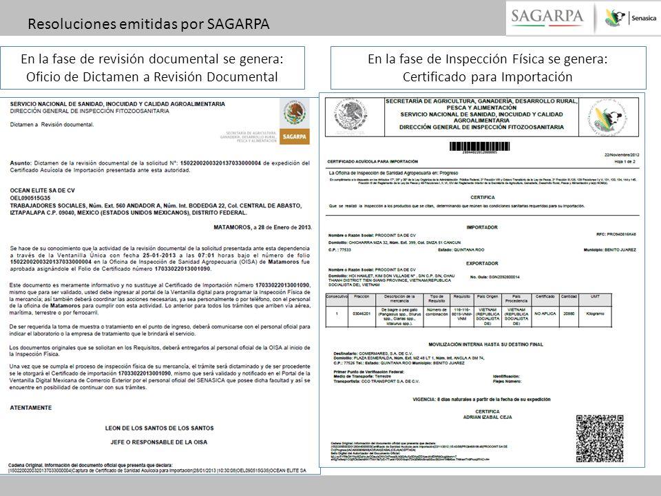 Resoluciones emitidas por SAGARPA