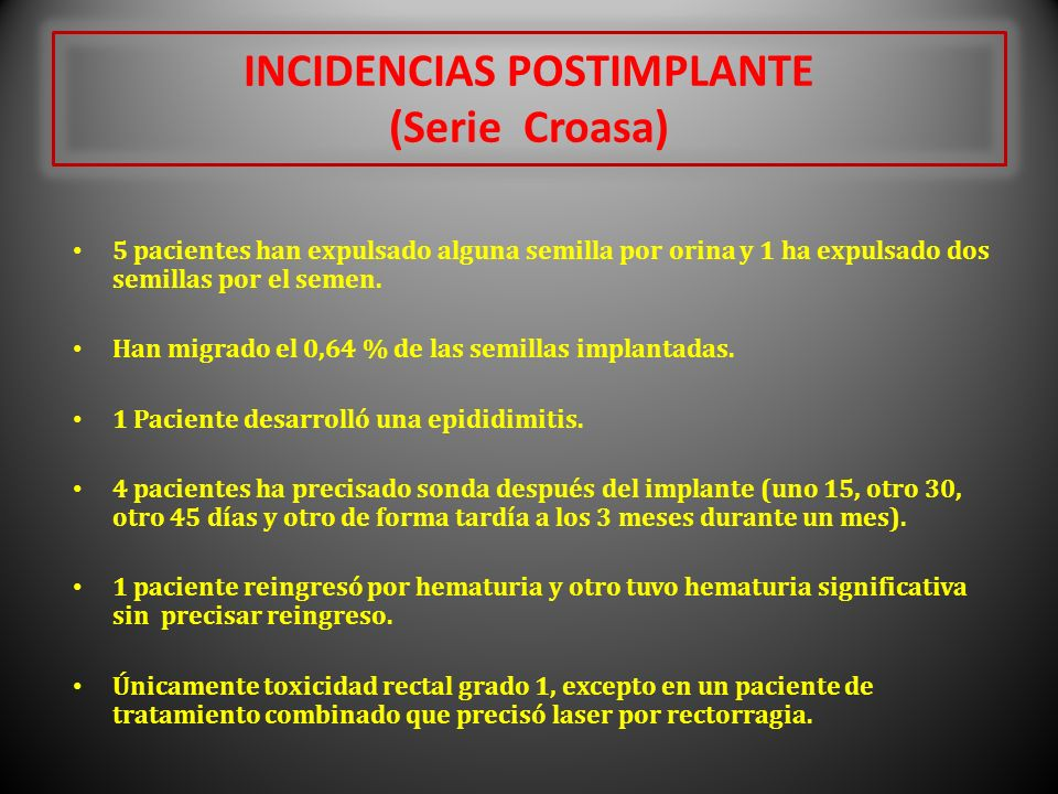 INCIDENCIAS POSTIMPLANTE