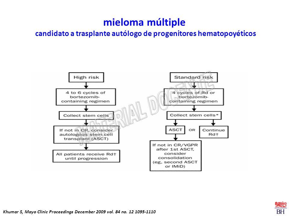 mieloma múltiple candidato a trasplante autólogo de progenitores hematopoyéticos