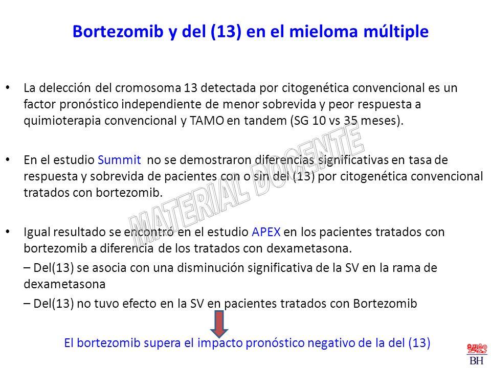 Bortezomib y del (13) en el mieloma múltiple