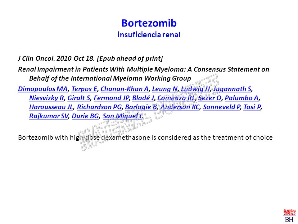 Bortezomib insuficiencia renal