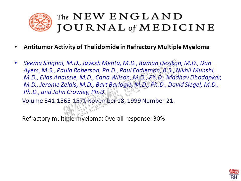 Antitumor Activity of Thalidomide in Refractory Multiple Myeloma