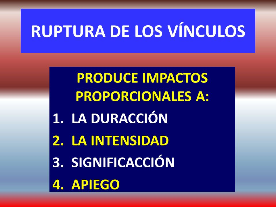 RUPTURA DE LOS VÍNCULOS
