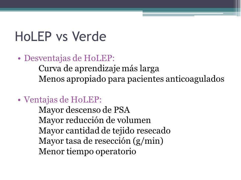 HoLEP vs Verde Desventajas de HoLEP: Curva de aprendizaje más larga