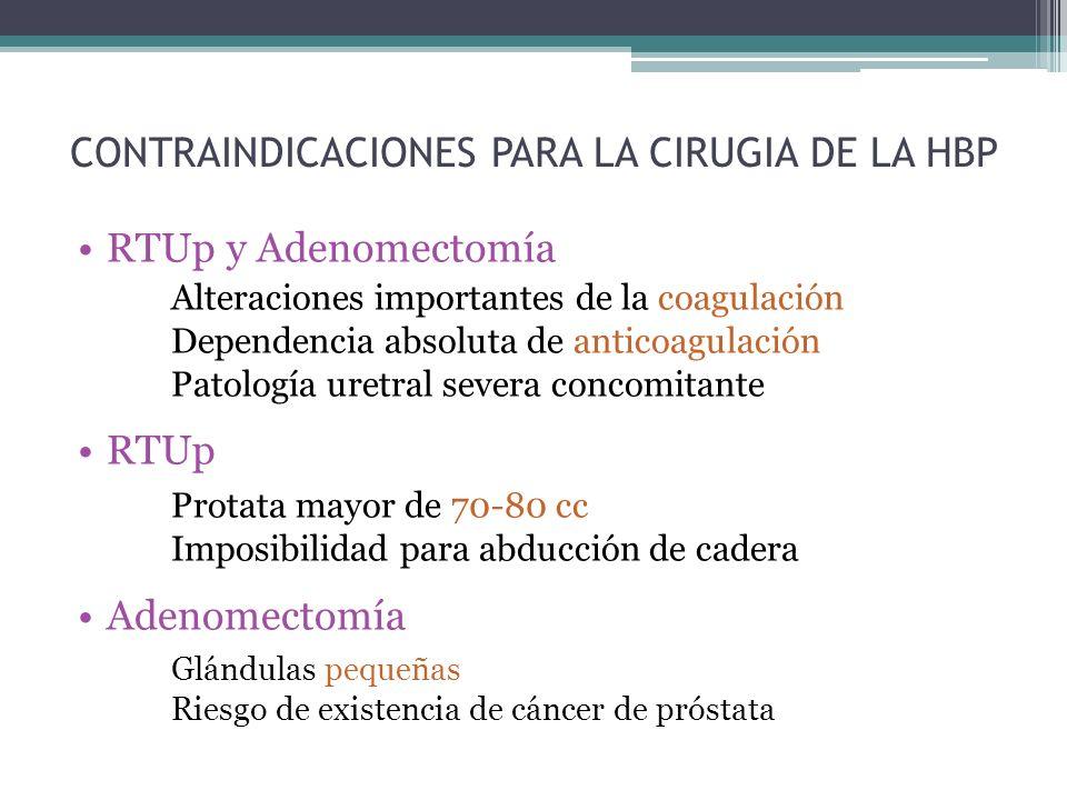 CONTRAINDICACIONES PARA LA CIRUGIA DE LA HBP