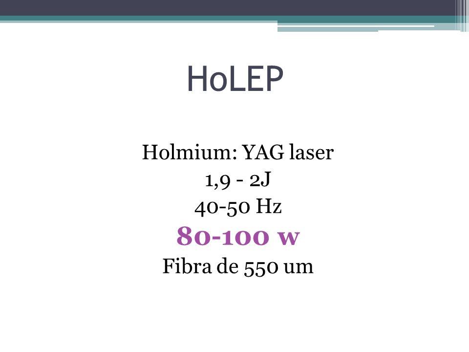 HoLEP Holmium: YAG laser 1,9 - 2J 40-50 Hz 80-100 w Fibra de 550 um