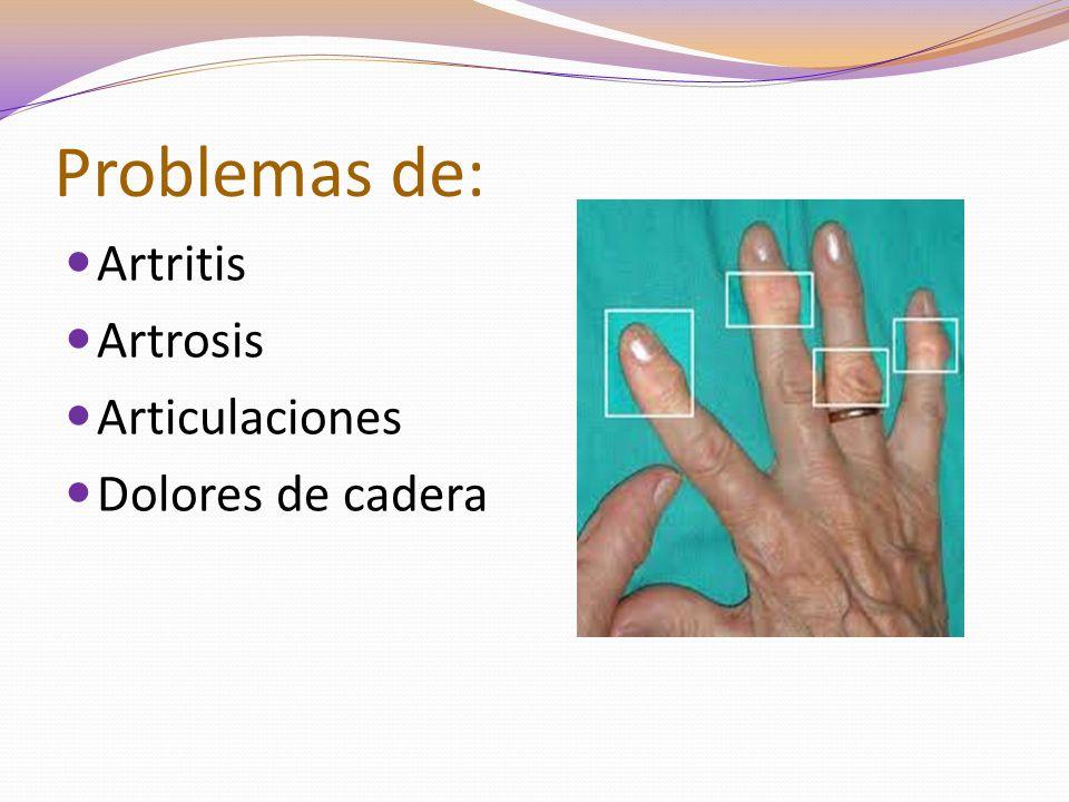 Problemas de: Artritis Artrosis Articulaciones Dolores de cadera