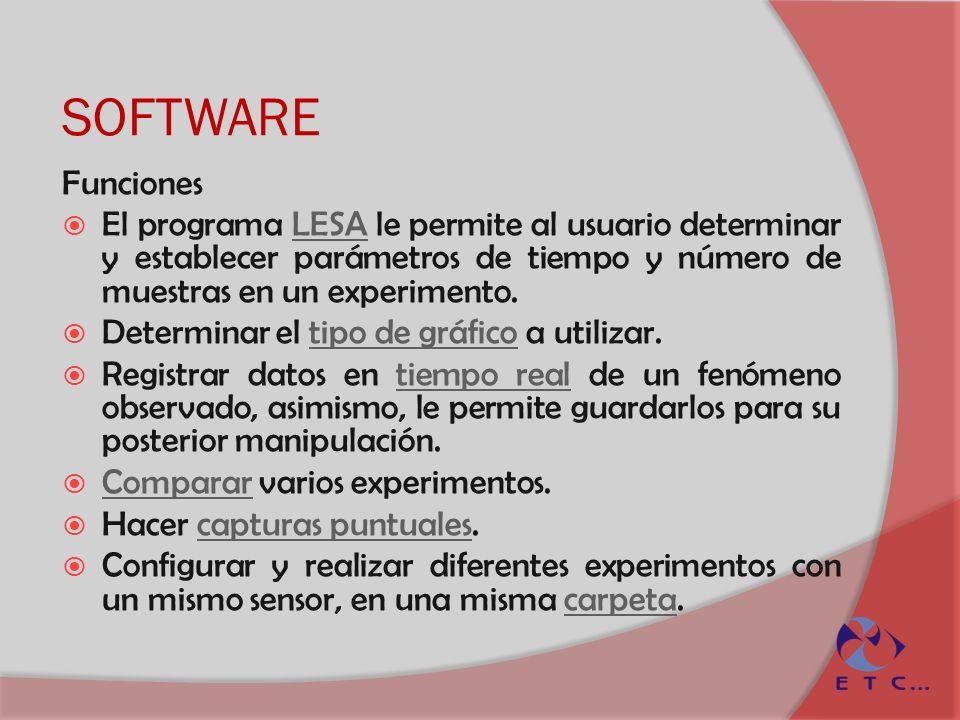 SOFTWARE Funciones. El programa LESA le permite al usuario determinar y establecer parámetros de tiempo y número de muestras en un experimento.