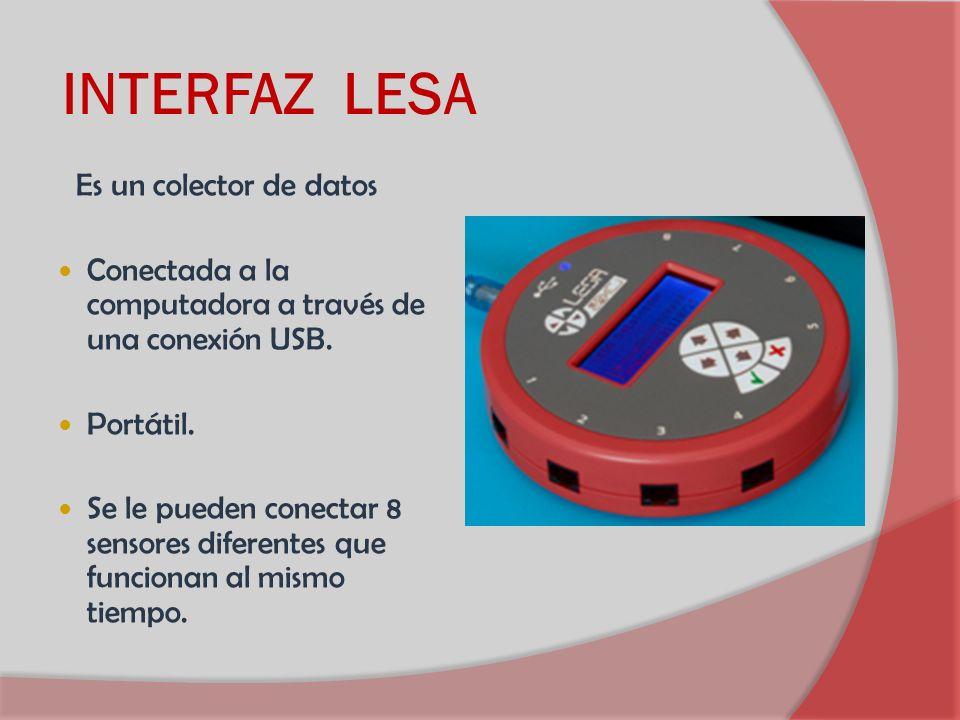 INTERFAZ LESA Conectada a la computadora a través de una conexión USB.