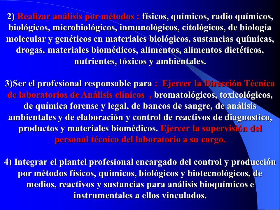 2) Realizar análisis por métodos : físicos, químicos, radio químicos, biológicos, microbiológicos, inmunológicos, citológicos, de biología molecular y genéticos en materiales biológicos, sustancias químicas, drogas, materiales biomédicos, alimentos, alimentos dietéticos, nutrientes, tóxicos y ambientales.
